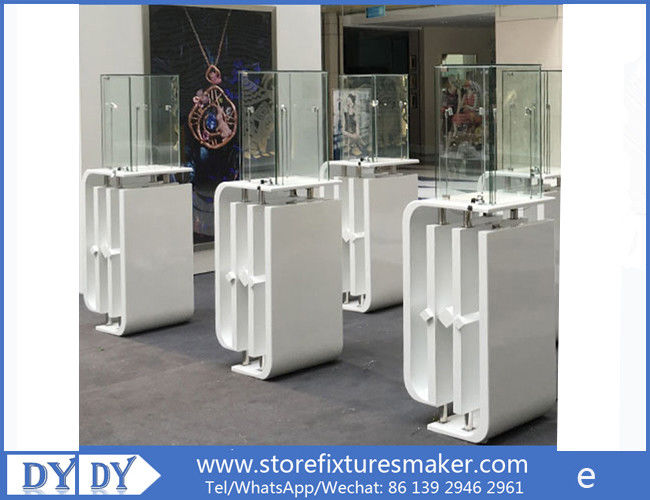Oem manufacturing good price wooden glass white color perspex display stands with locks nhà cung cấp