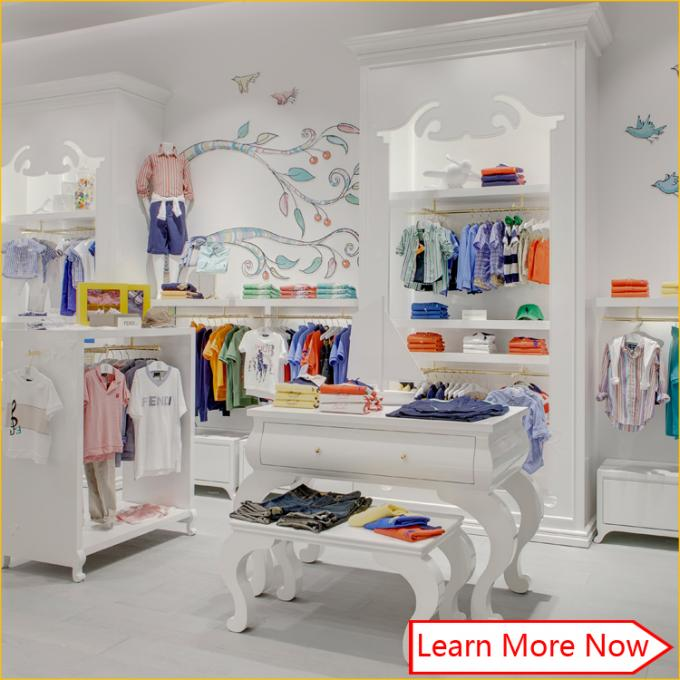 Nice color branded wood material kids clothing store design with lighting