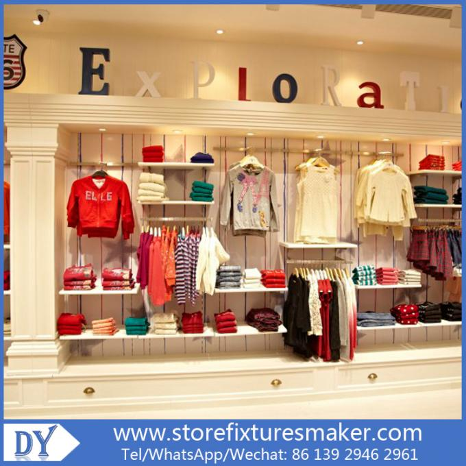 OEM Service wooden lacquer Youth Clothing Stores display furnitures with led lighting decorated
